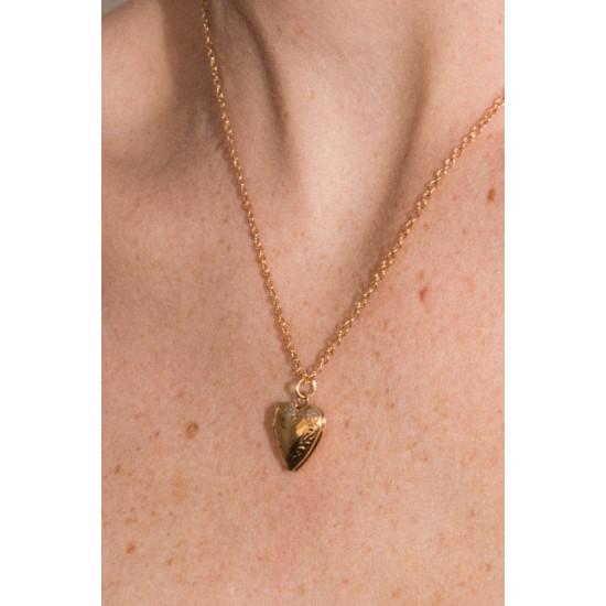 Online Sale Brandy Melville Gold Heart Locket Necklace