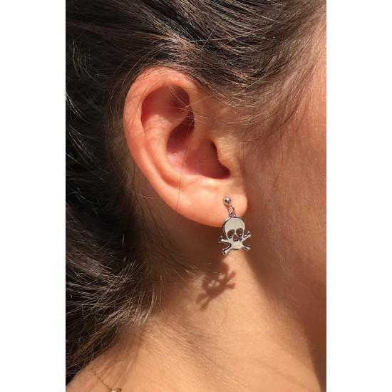 Online Sale Brandy Melville Silver Skull Earring