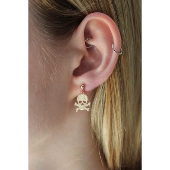 Online Sale Brandy Melville Gold Skull Earring