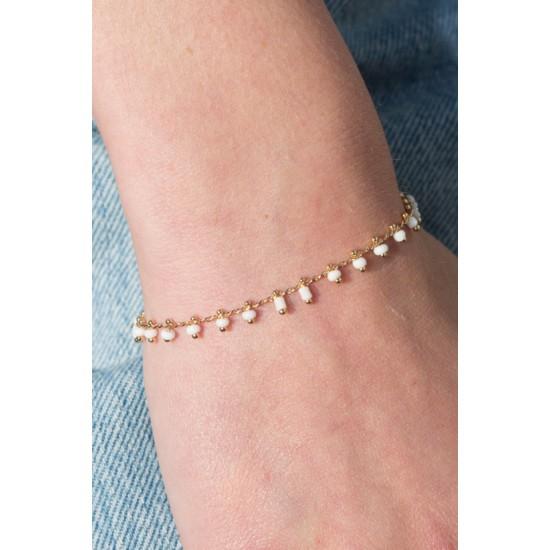 Online Sale Brandy Melville Gold White Bead Bracelet