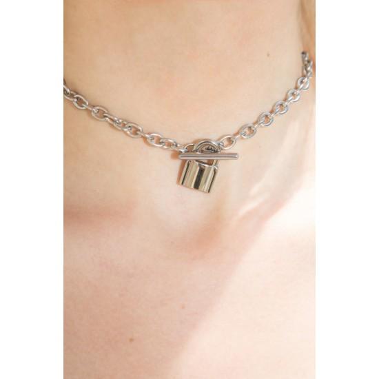 Online Sale Brandy Melville Silver Lock Chain Choker