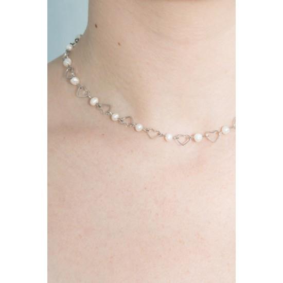 Online Sale Brandy Melville Silver Pearl Heart Choker