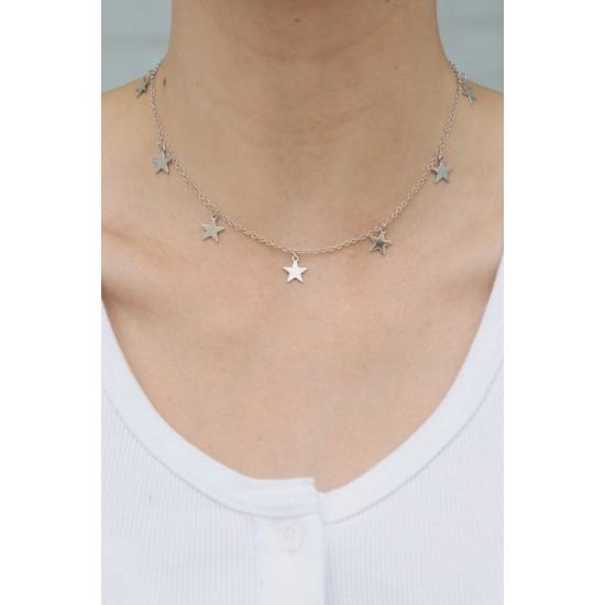 Online Sale Brandy Melville Silver Stars Charm Necklace