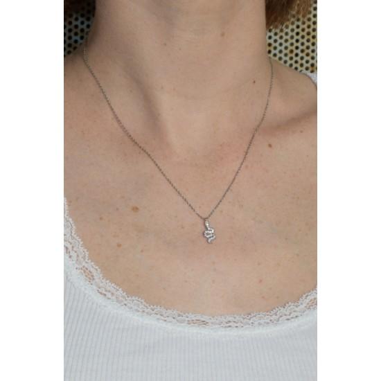 Online Sale Brandy Melville Silver Rhinestone Snake Charm Necklace