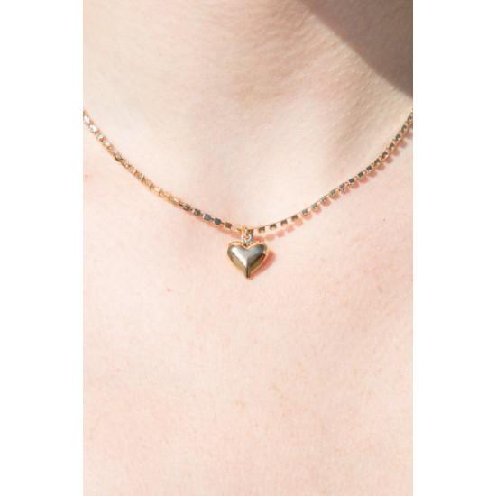Online Sale Brandy Melville Rhinestone Gold Heart Charm Necklace