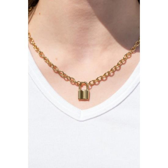 Online Sale Brandy Melville Gold Lock Chain Necklace