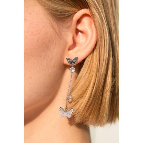 Online Sale Brandy Melville Silver Butterfly Rhinestone Drop Earrings