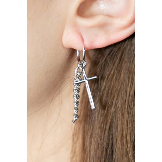Online Sale Brandy Melville Silver Cross Chain Earrings
