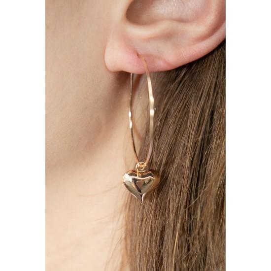 Online Sale Brandy Melville Gold Heart Charm Hoop Earrings