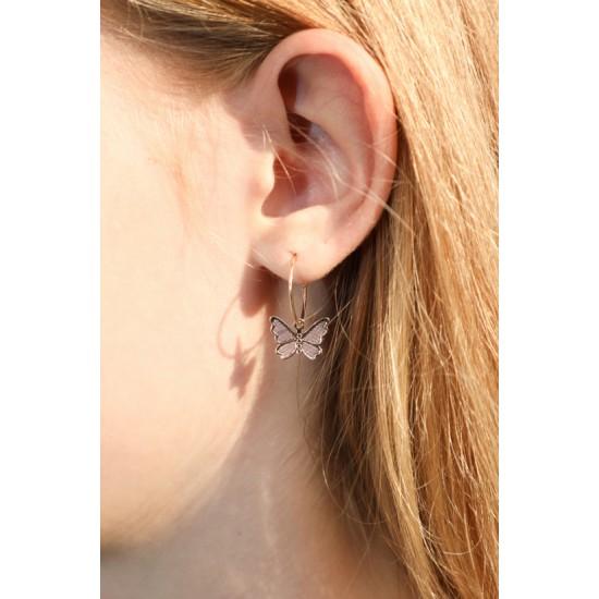 Online Sale Brandy Melville Mini Gold Butterfly Hoop Earrings