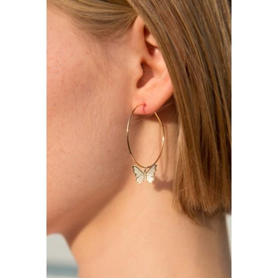 Online Sale Brandy Melville Gold Butterfly Hoop Earrings