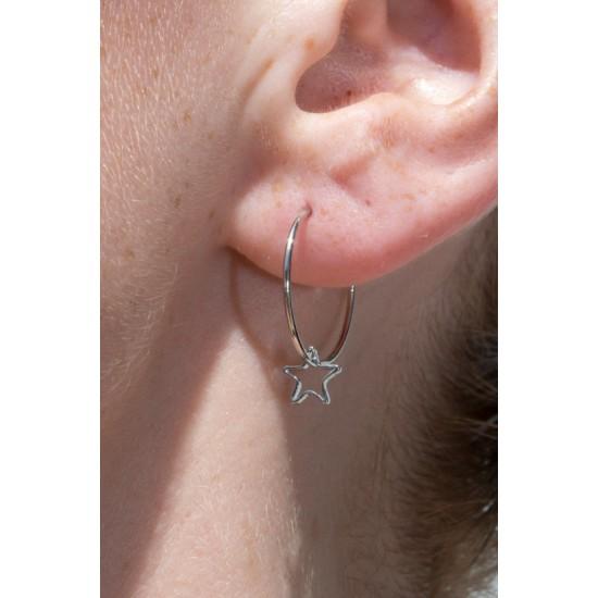 Online Sale Brandy Melville Silver Hollow Star Charm Hoop Earrings