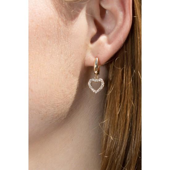 Online Sale Brandy Melville Gold Rhinestone Heart Earrings