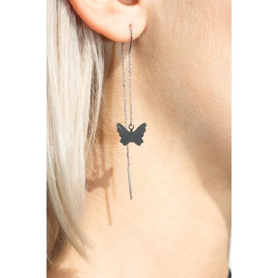 Online Sale Brandy Melville Silver Butterfly Drop Earrings