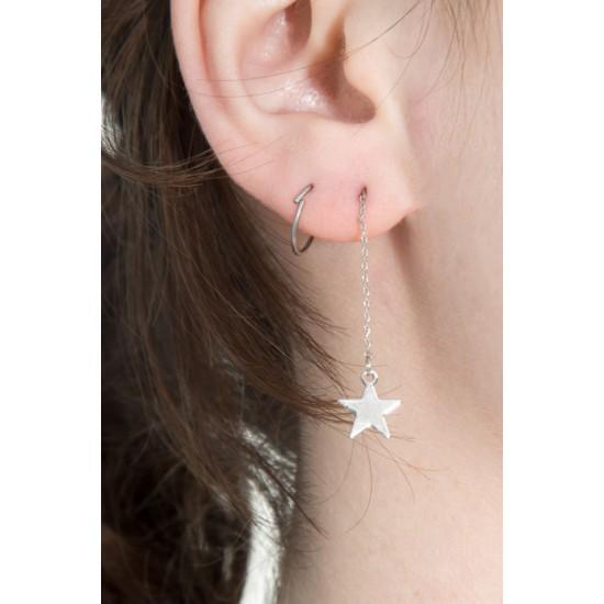 Online Sale Brandy Melville Silver Lightning Bolt Star Drop Earrings