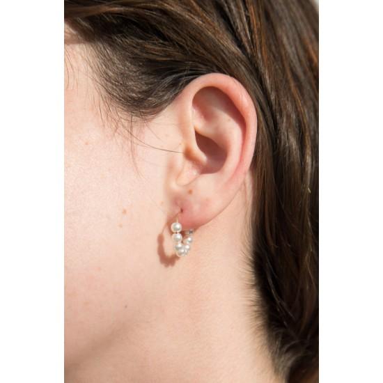 Online Sale Brandy Melville Gold Faux Pearl Hoop Earrings