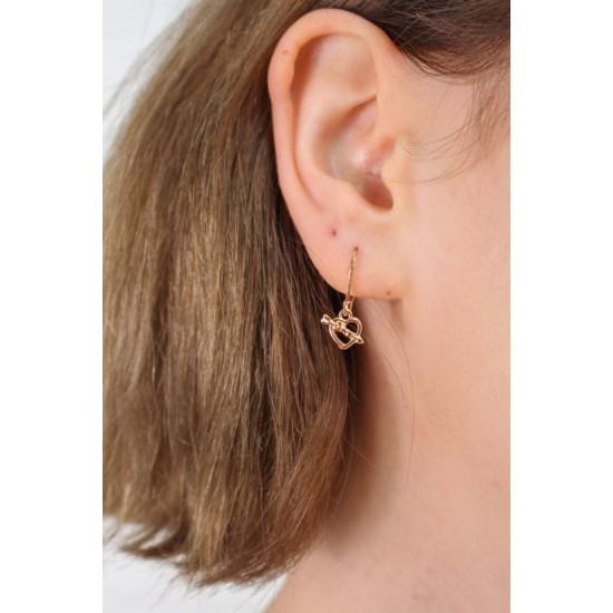 Online Sale Brandy Melville Gold Heart Arrow Earrings