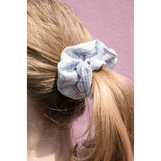 Online Sale Brandy Melville Blue And White Plaid Scrunchie