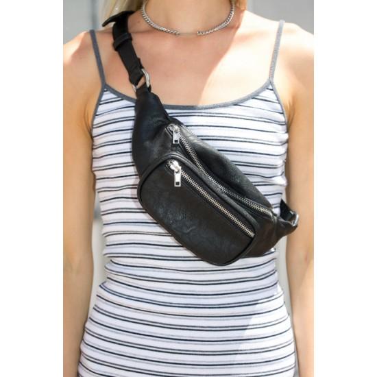 Online Sale Brandy Melville Black Faux Leather Fanny Pack