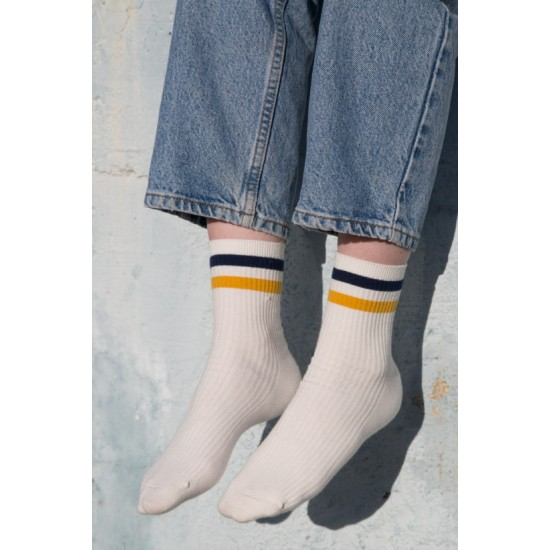 Online Sale Brandy Melville Blue and Yellow Stripe Socks