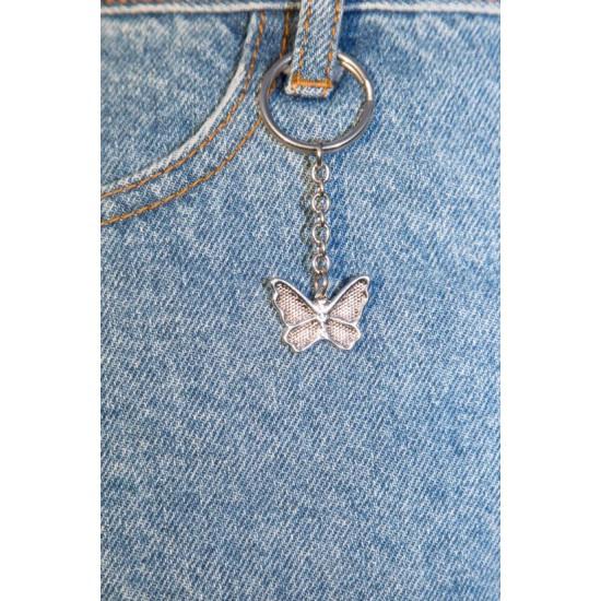 Online Sale Brandy Melville Silver Butterfly Keychain